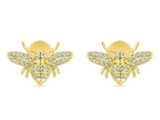 14k Yellow Gold and Diamond Bee Earring Studs