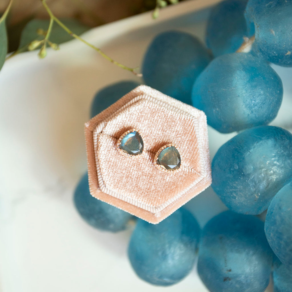 Labradorite and Diamond Halo Studs in 14k Rose Gold
