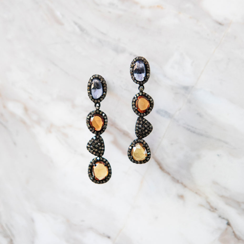 Colored Sapphire and Diamond Drop Statement Earrings