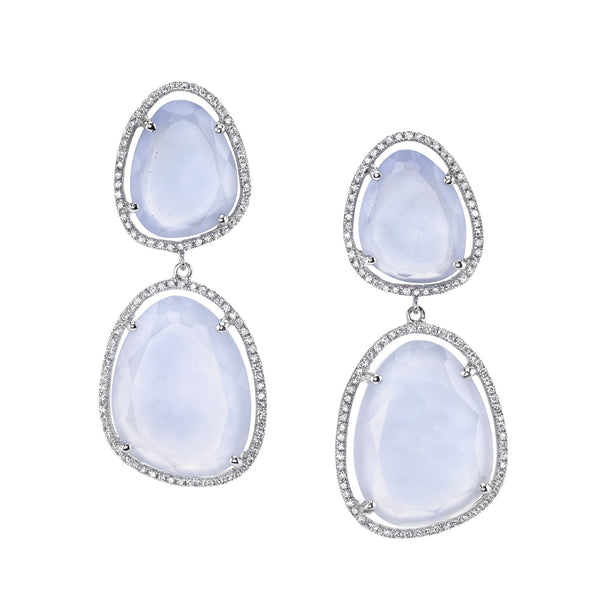 Chalcedony and Diamond Statement Earrings