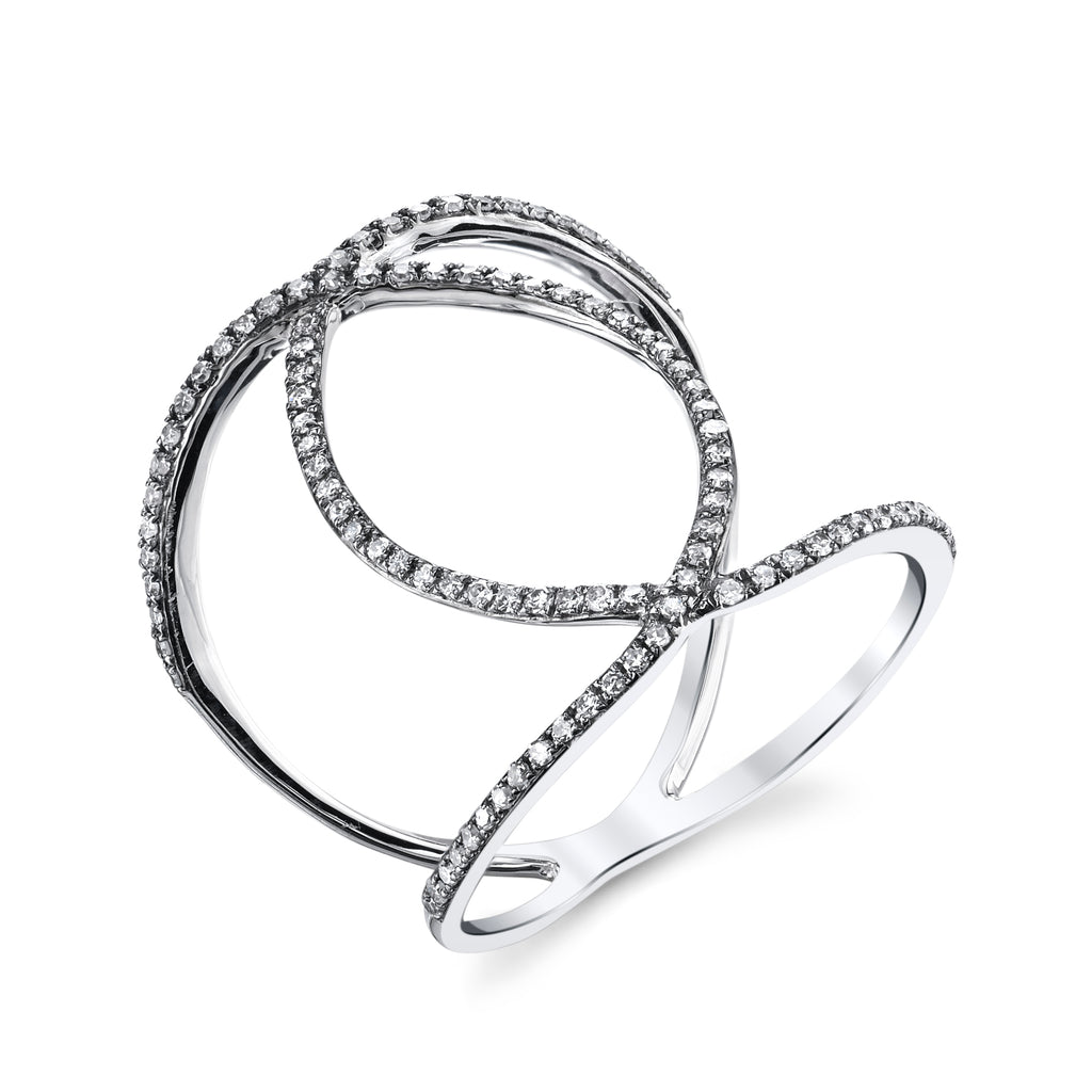 Infinity Diamond Pave Ring in White Gold with Black Rhodium
