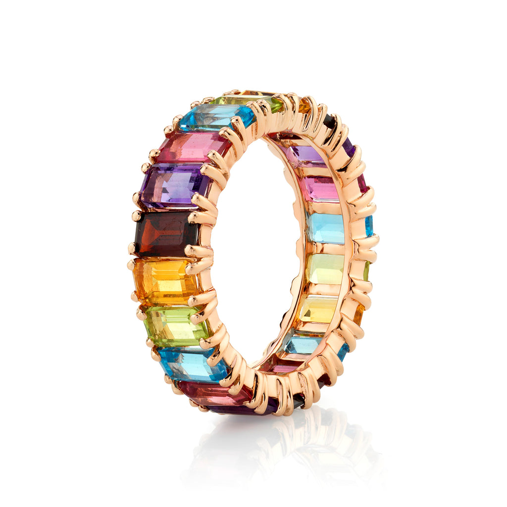 Emerald Cut Rainbow Gemstone Eternity Band