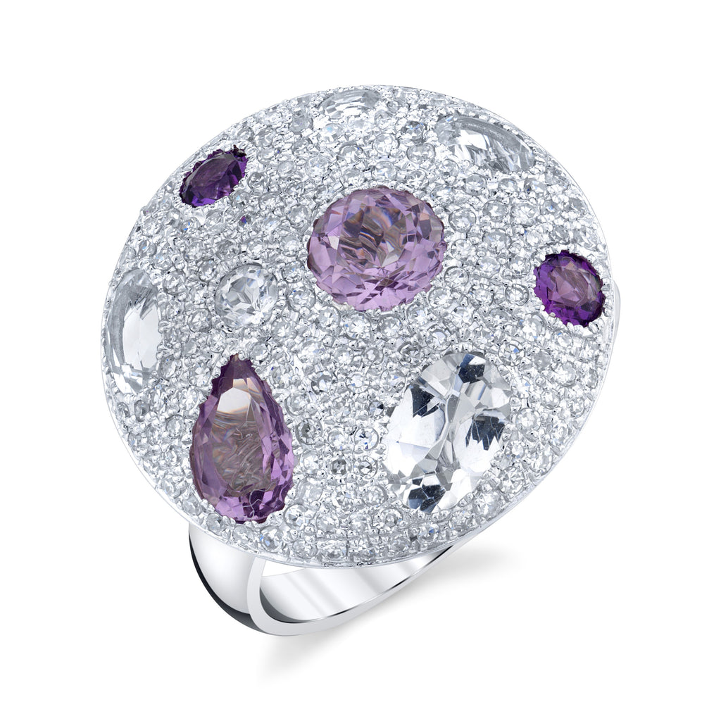 Diamond and Amethyst Cobblestone Ring