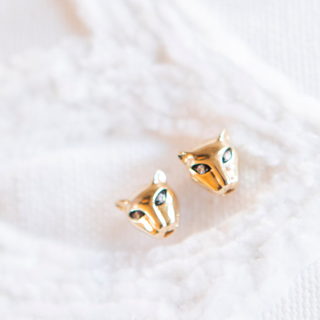 Diamond Eyed Gold Panther Studs