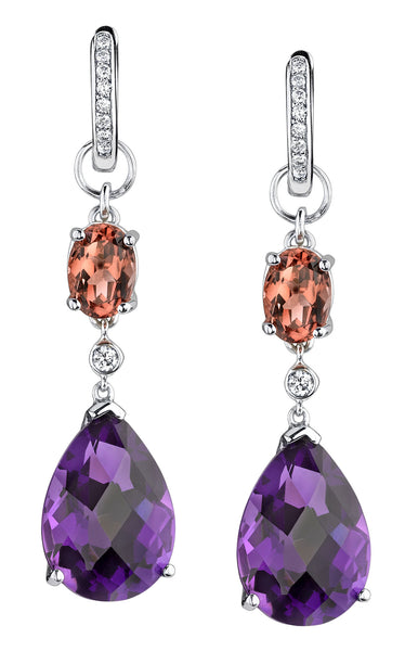 Bespoke Earring Charms with Amethyst and Tourmaline