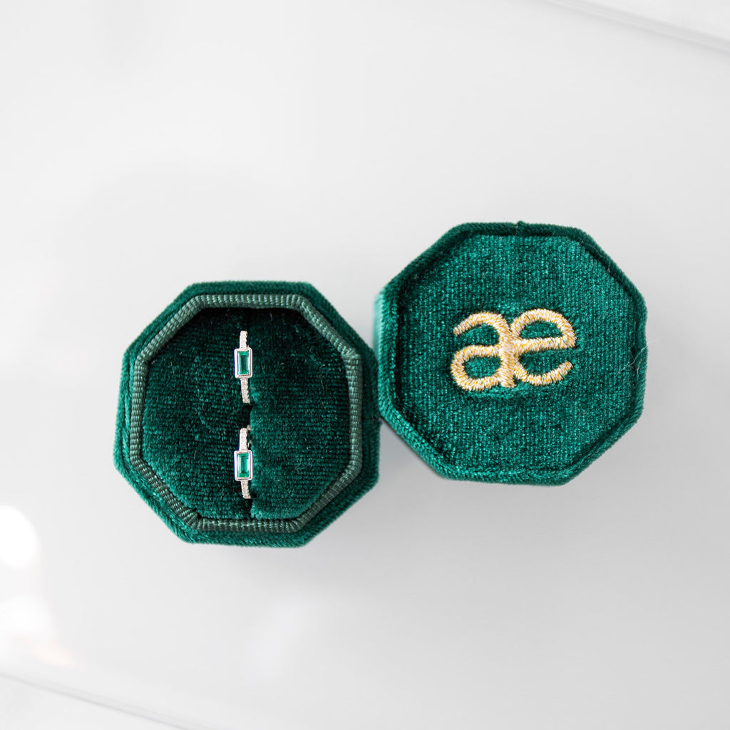 Emerald Baguette and Diamond Huggies