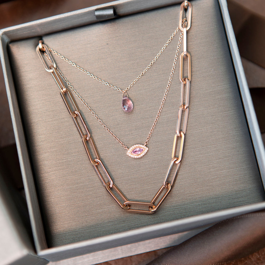 Marquise Pink Sapphire and Diamond Evil Eye Necklace