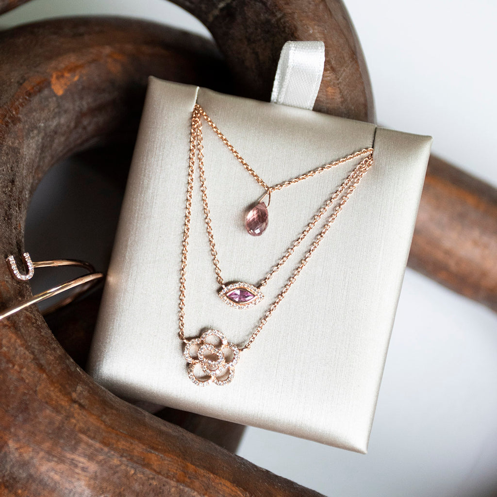 Bespoke Pink Sapphire Briolette Necklace in Rose Gold