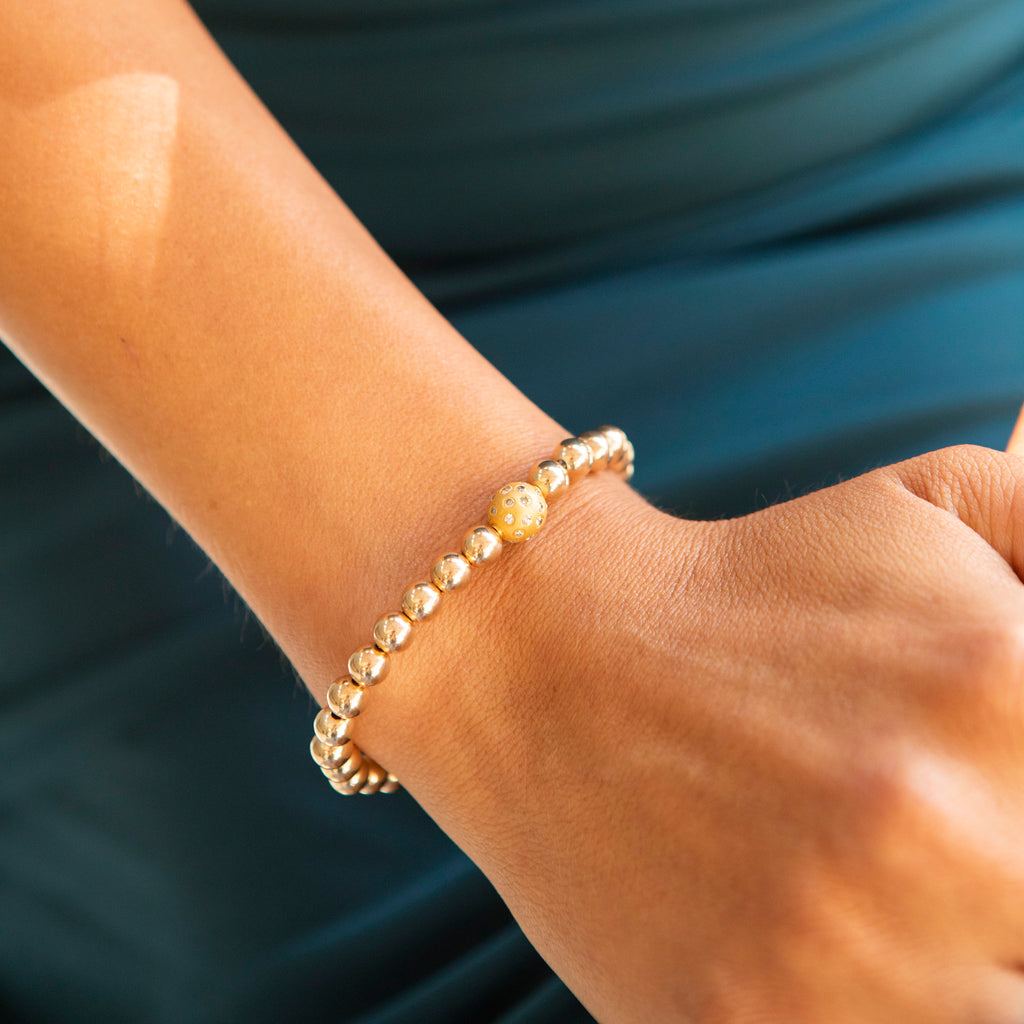 Diamond and Gold Ball Bracelet