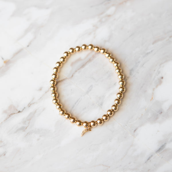 Gold Ball and Diamond Crescent Charm Bracelet
