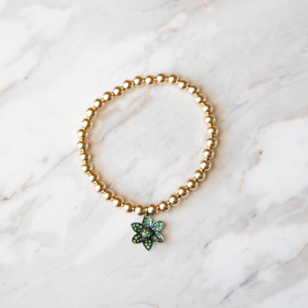 Gold Ball and Tsavorite Garnet Flower Charm Bracelet