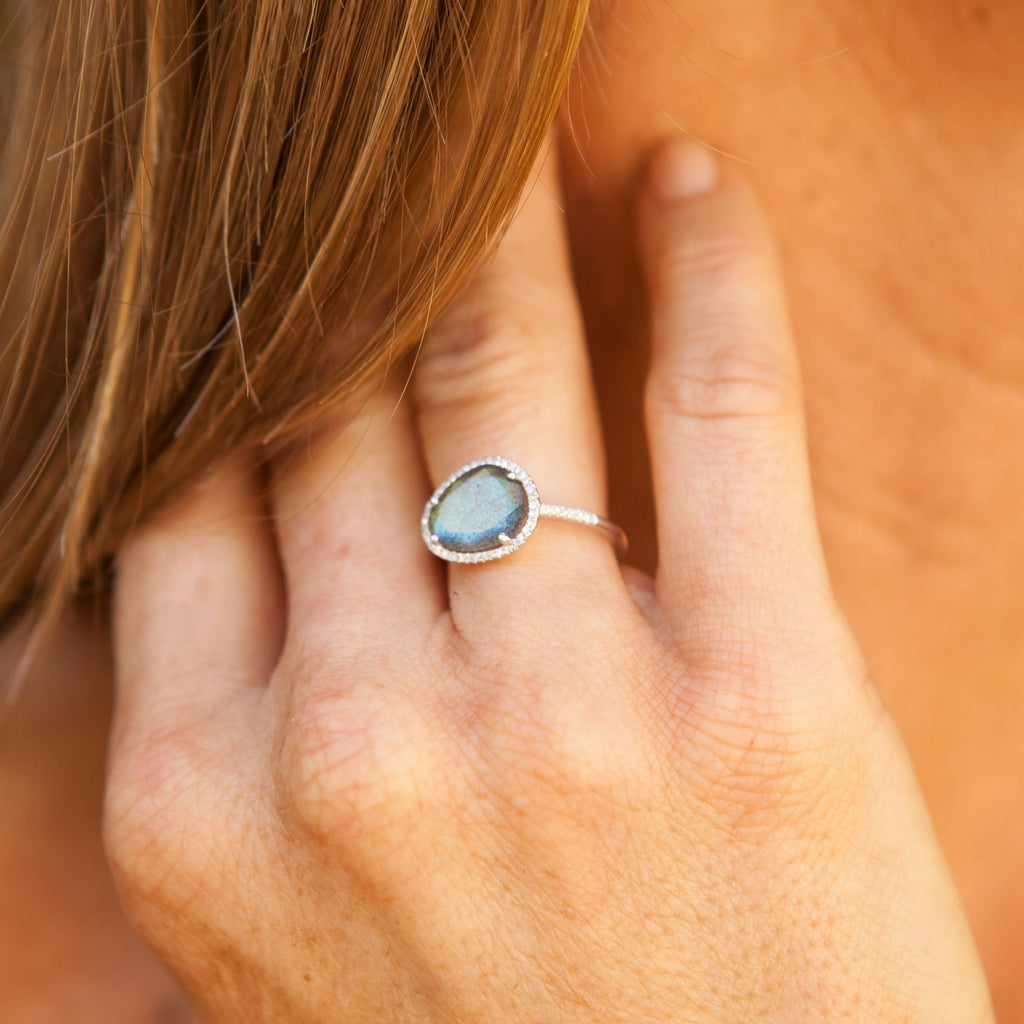 Organic Labradorite Ring with Diamond Halo