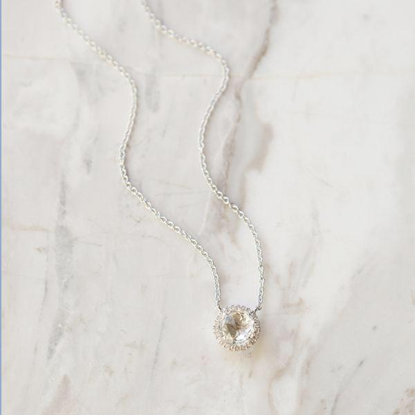 White Topaz and Diamond Halo Necklace