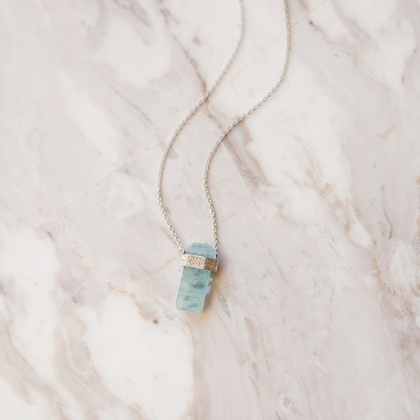 Aquamarine and Diamond Amulet Necklace