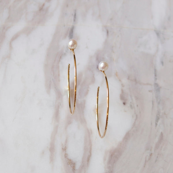 Pearl and Yellow Gold Hoop Earrings