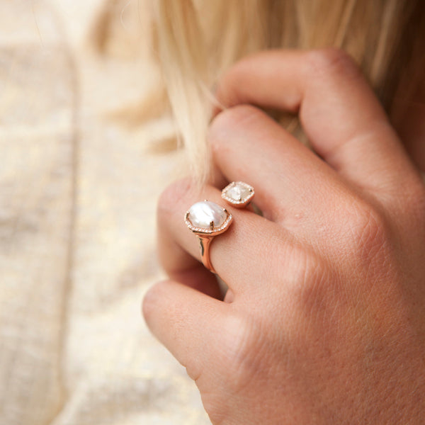 Bespoke Rosecut Diamond and Pearl Duo Ring