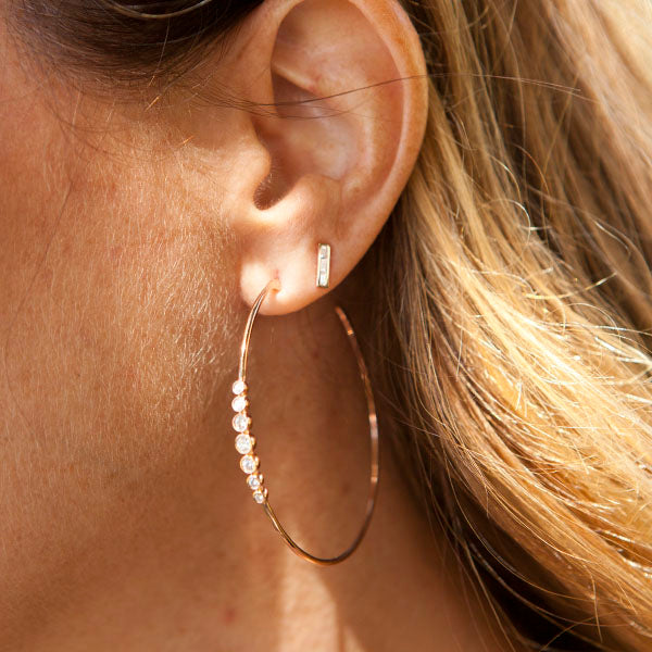 Baguette Diamond Bar Studs in 14k Rose Gold