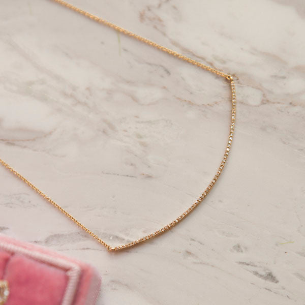 Diamond Pave Crescent Necklace