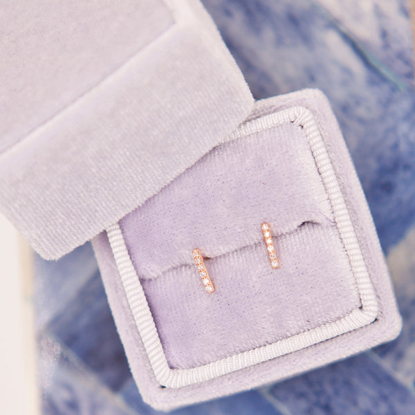 Small Diamond Bar Studs
