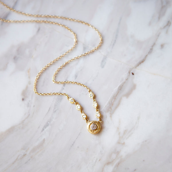 Hammered Gold Bezel Diamond Necklace
