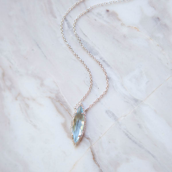 Marquis Blue Topaz Diamond Halo Necklace