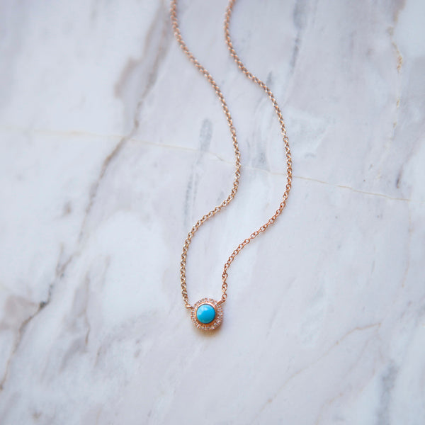 Petite Turquoise and Diamond Halo Necklace