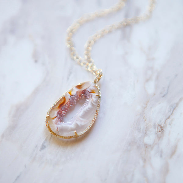 Agate and Diamond Halo Necklace