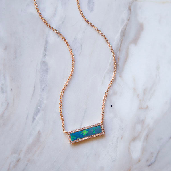 Opal Halo Necklace in Rose Gold