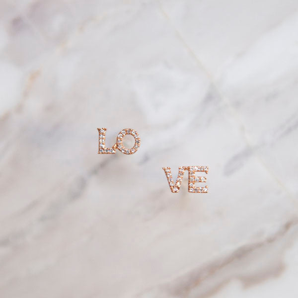 Diamond LO-VE Stud Earrings