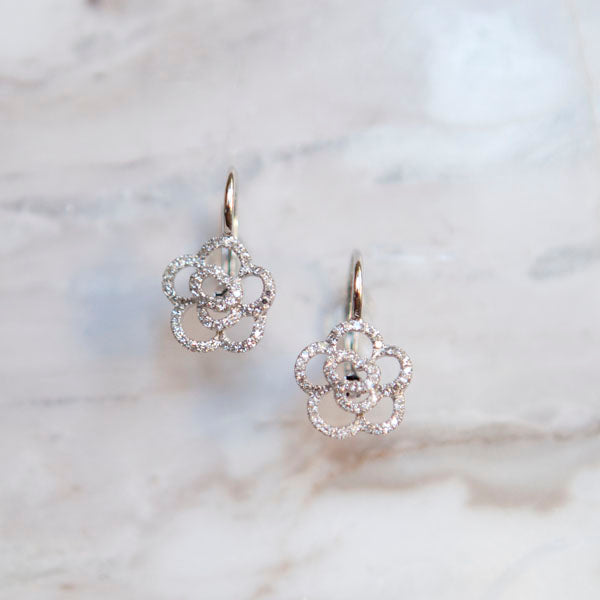 Camilla Diamond Floral French Wire Earrings