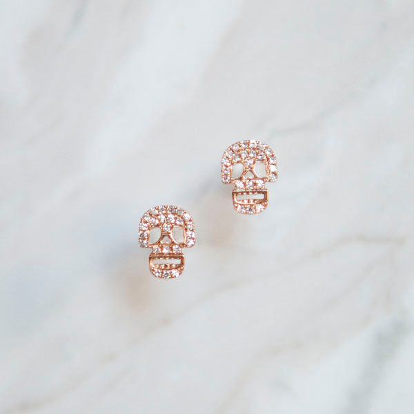 Diamond Pave Skull Studs in Rose Gold