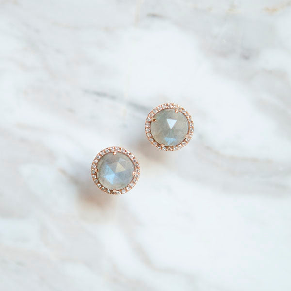 Labradorite and Diamond Halo Earrings