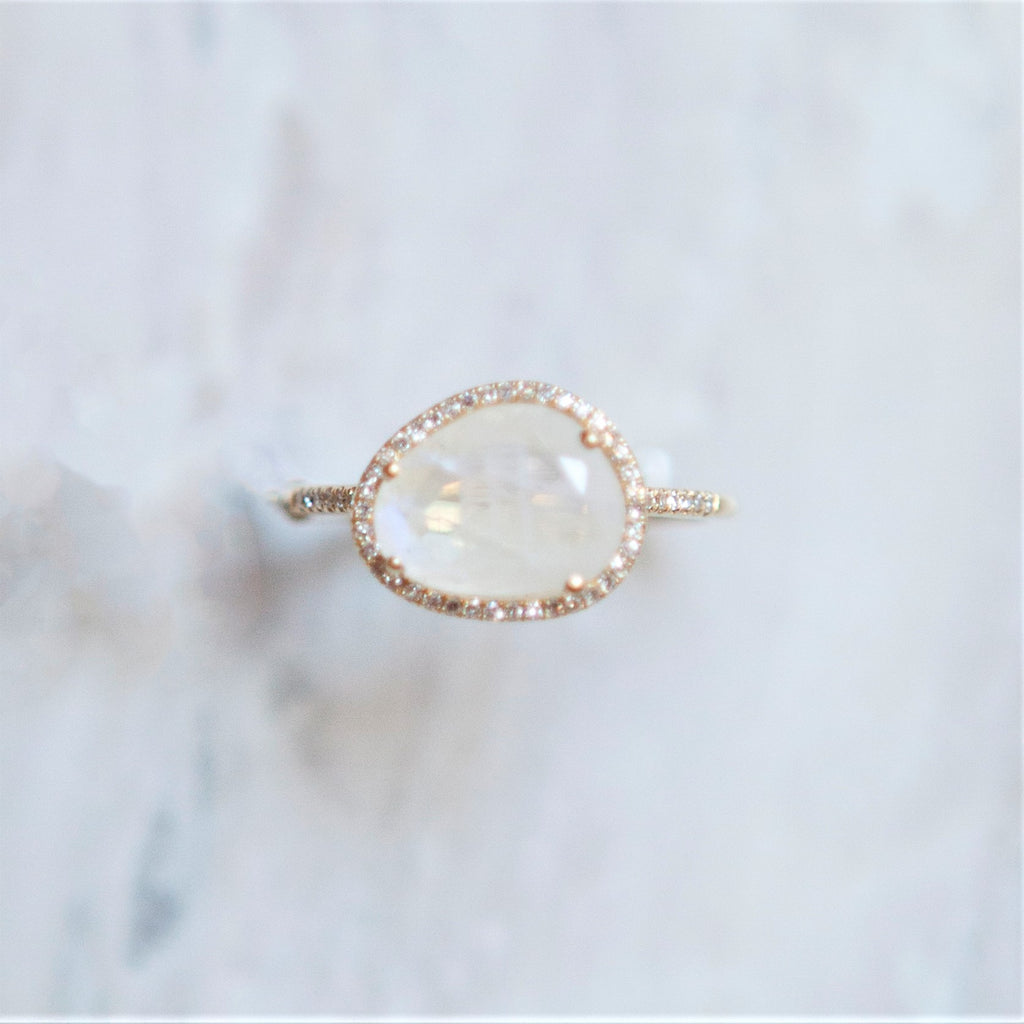 Organic shaped Moonstone Ring with Diamond Halo