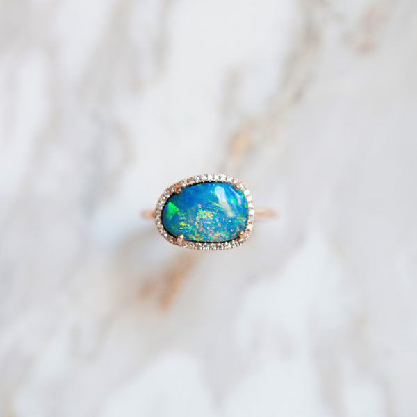 Bespoke Opal and Diamond Halo Ring