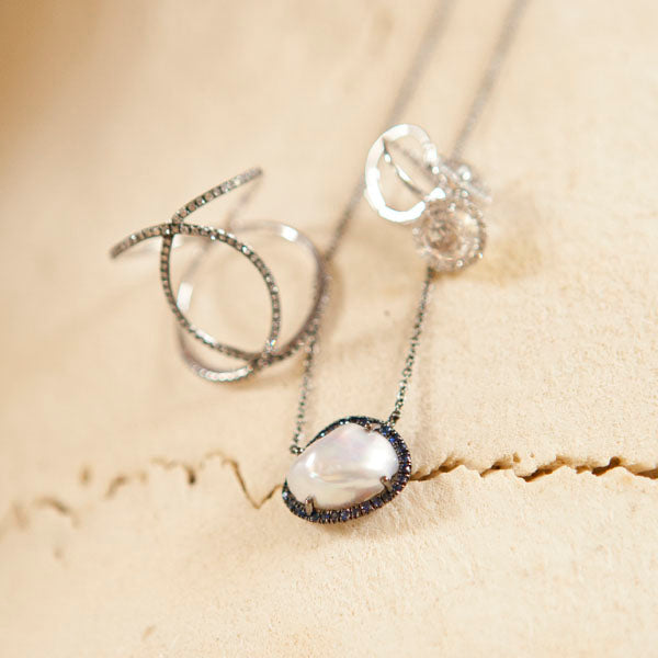 Pearl and Blue Sapphire Halo Necklace