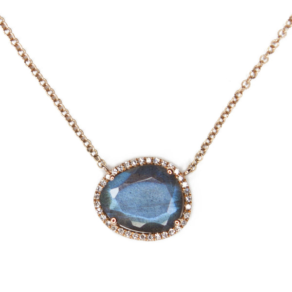 Labradorite Diamond Halo Necklace