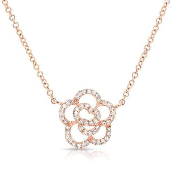 Diamond Floral Camellia Necklace