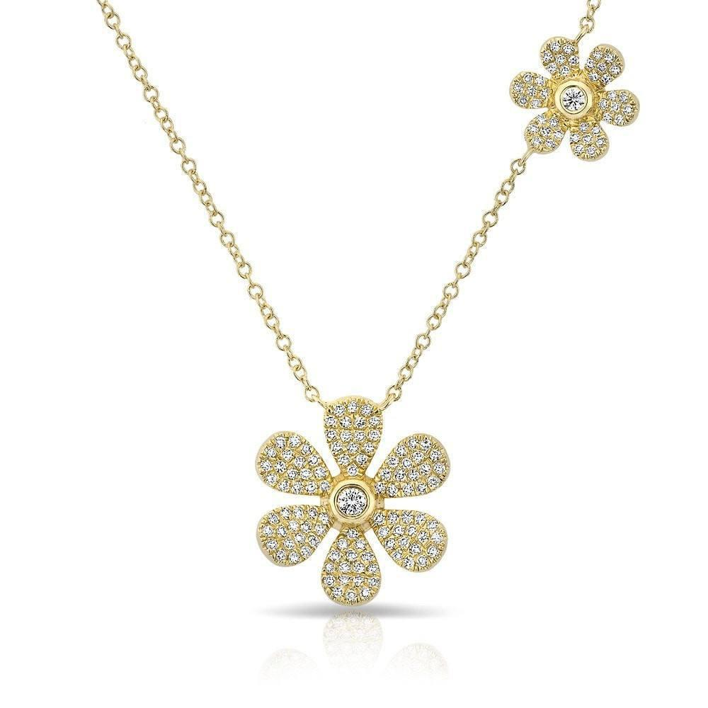 e102bb1be2cf51 Double Floral Diamond Necklace - Amber Erin Jewelry