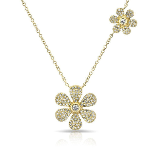 Double Floral Diamond Necklace