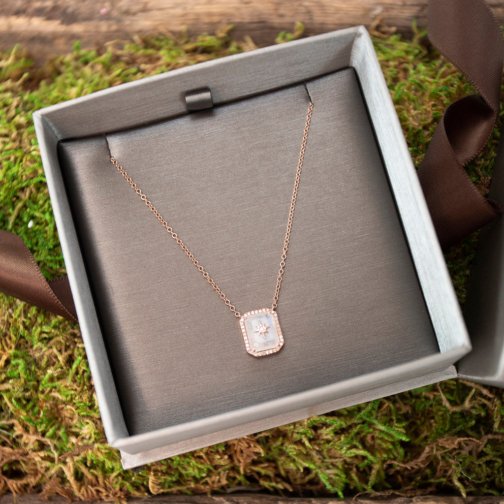 14K Rose Gold Moonstone Star Pendant and Diamond Necklace