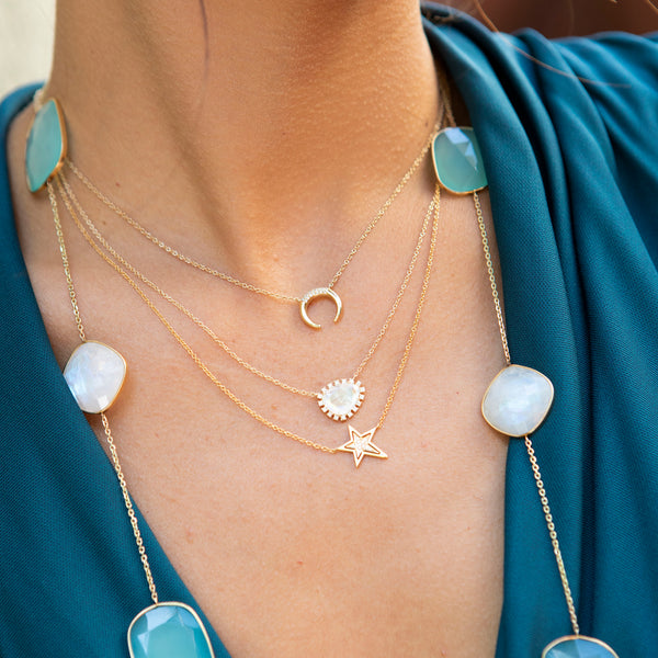 Rainbow Moonstone and Diamond Necklace