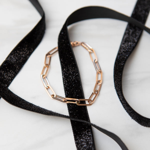 Italian Gold Large Link Paperclip Bracelet