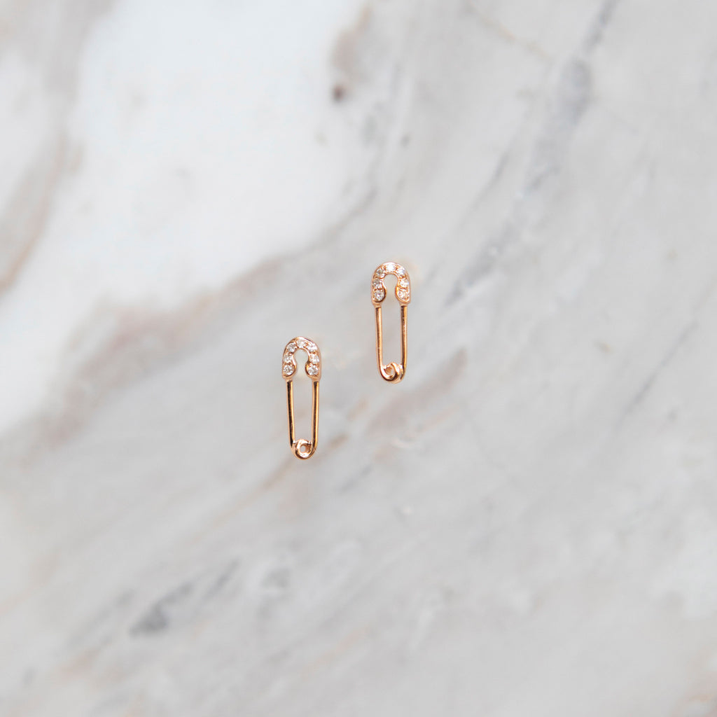 Diamond Mini Safety Pin Stud Earrings