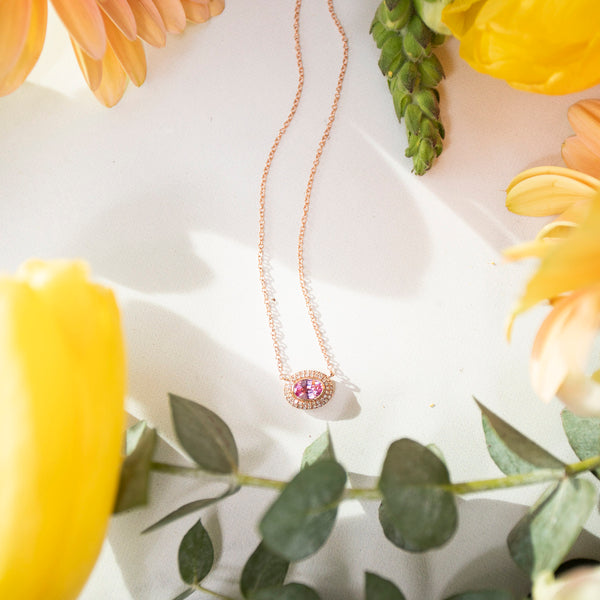 East West Diamond Halo and Pink Sapphire Necklace in 14K Rose Gold