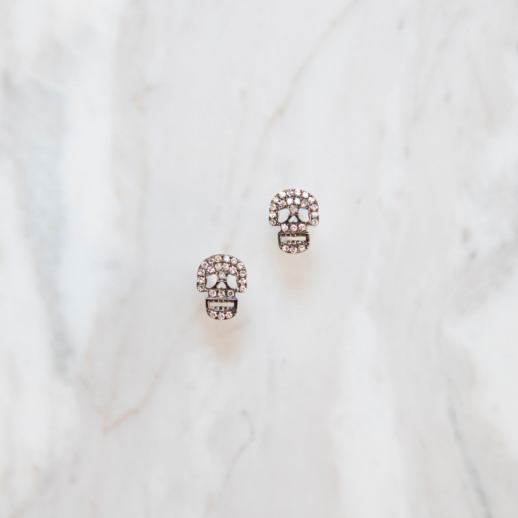 Diamond Pave Skull Studs in White Gold and Black Rhodium