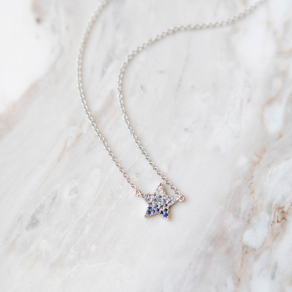 Ombre Sapphire Star Necklace