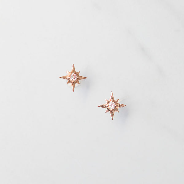 Rose Gold Northern Star Diamond Stud Earrings