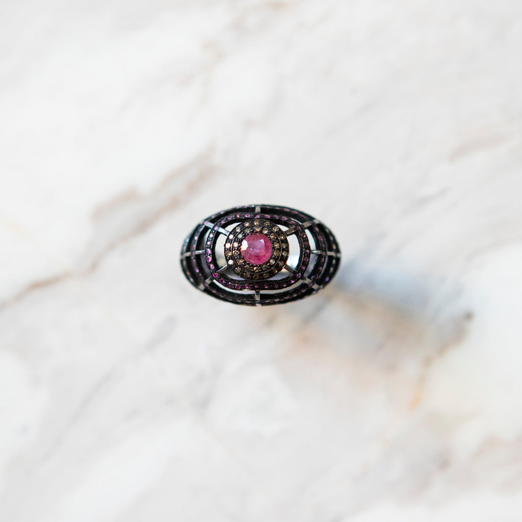 Bespoke Web of Rubies Ring