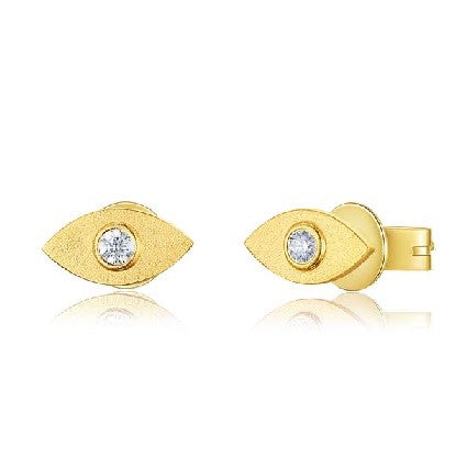 Matte Gold Diamond Evil Eye Stud Earrings
