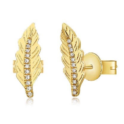 Golden Leaf Diamond Studs